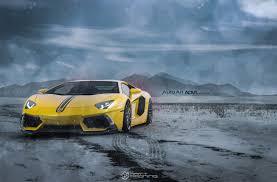 Yellow Lamborghini Aventador - yellow lamborghini aventador enough to melt snow on adv 1 wheels