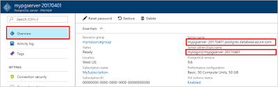 azure portal create an azure database for postgresql server