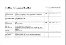 building maintenance checklist template excel templates