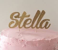 name cake toppers a sparkly gold glitter script cake topper this is such a