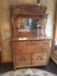 antique solid quarter sawn tiger oak hall mirror back