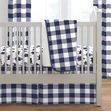 navy buffalo check crib bedding carousel designs