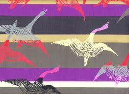 Hokusai Bird Of Passage Cotton Canvas Purple Home Decor Modern