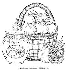 Autumn Vector Coloring Page Adults Black Stock Vector 703002145 Rosh Hashanah Colouring Pages