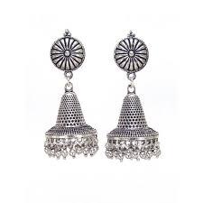 jhumki earring traditional designer oxidised silver jhumki earrings fashioncrab