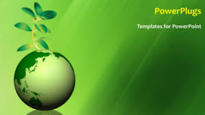 powerpoint template global environment with a globe and a green