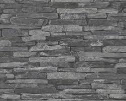realistic dark grey dry stone wall brick feature wallpaper a s