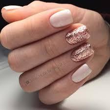 21 elegant nail designs for short nails rose gold glitter nails