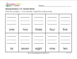 missing numbers 1 10 number words kindergarten number writing
