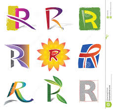 set of decorative letters r icons and elements royalty free