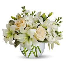 white flower arrangements white lilies and roses flower arrangement in
