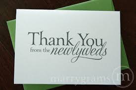 wedding thank you card thank you from the newlyweds card serif style