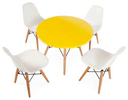 Kids Round Table And Chairs Mid Century Retro Kids Round Yellow Table U0026 4 Kids Dsw Chairs