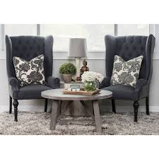 Upholstered Wingback Chair Eleanor Grey And Black Upholstered Wingback Chair By Kosas Home