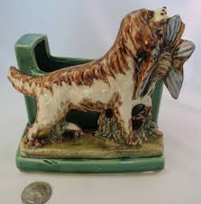 Animal Planter by Vintage Mccoy Bird Hunting Dog Planter Bookends C 1955