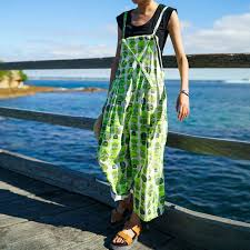 cotton women printing loose summer casual green straps jumpsuit