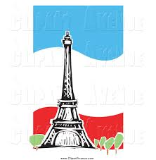 Frebch Flag Avenue Clipart Of A The Eiffel Tower Over A Wavy French Flag By
