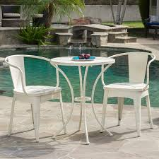 white patio furniture sets amazon com castro outdoor 3 piece off white cast bistro set