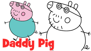 draw peppa pig family daddy step step easy drawing