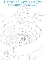 animals watching lion in well coloring page for kids