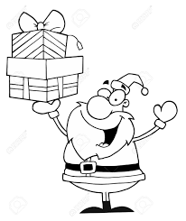 black and white coloring page outline of santa holding up gifts