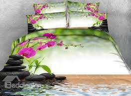 Zen Bedding Sets 3d Butterfly Orchid And Zen Cobblestone Printed Cotton 4
