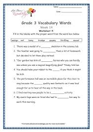 grade 3 vocabulary worksheets week 14 lets share knowledge
