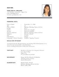 Simple Resume Sample Format Philippines by Sample Resume Biodata Design Augustais