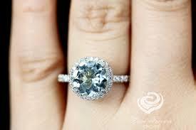 8mm diamond 8mm 2 carats cut aquamarine 14k white gold diamond halo