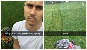 Lawn Mower Meme - this man trying and failing to mow his lawn is all of us scary mommy
