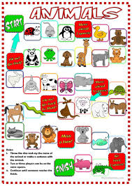 27 free esl animal board game worksheets