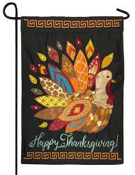 patterned thanksgiving turkey applique garden flag i