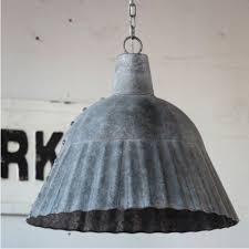 Metal Pendant Light Fixtures Fluted Galvanized Pendant Light Fixture Antique Farmhouse