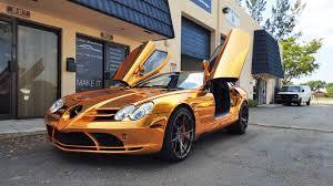 gold bronze mercedes benz slr mclaren by custom wrap design