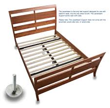 queen size metal platform bed frame with birch wood slats in