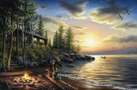 Rustic Cabin Rustic Cabin Landscape Canvas Art Print