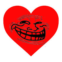 Meme Heart - trollololed love heart trollface coolface problem know your
