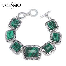 chain link bracelet silver images Square malachite green stone bracelet silver chain link bracelet jpg