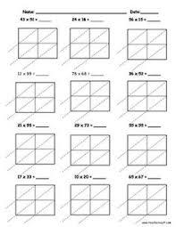 the 2 digit by 2 digit lattice multiplication a math worksheet