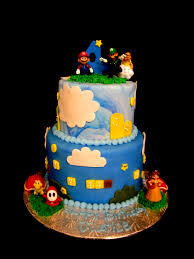 mario brothers 2 tier birthday cake by the twisted sifter cake