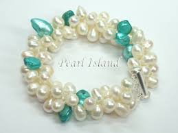 turquoise pearls bracelet images Elegance 3 row light turquoise white freshwater pearl bracelet jpg