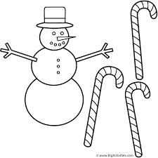 snowman with candy canes coloring page christmas