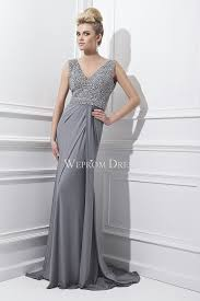 v neck grey floor length unusual evening dress uk