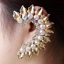 ear cuffs india 2018 wholesale fashion jewelry rhinestone leaf earrings ear