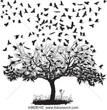 clipart of crows in a tree k9628742 search clip