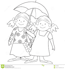 girls and umbrella coloring royalty free stock images image