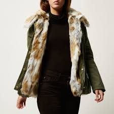 river island khaki faux fur 2 in 1 jacket in natural lyst