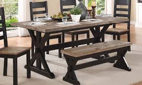 trestle dining table with bench homelegance north port trestle dining table two tone black brown