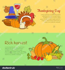 thanksgiving day rich harvest horizontal banners stock vector