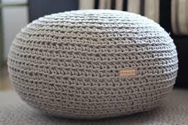 Knitted Ottoman Organic Crochet Pouf Linen Knit Pouf Pouf Ottoman